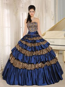 Navy Blue Leopard Beaded Quinceanera Dress with Ruffled Layers and Appliques