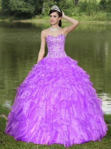 Purple Sweetheart Beaded Ruffles Layered Organza Quinceanera Dress for 2015