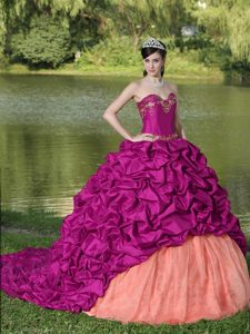 Appliqued Exquisite Style Quinceanera Dress with Pick-ups and Brush Train