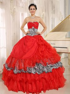 Wholesale Red Sweetheart Zebra and Beaded Quinceanera Dresses with Ruffles