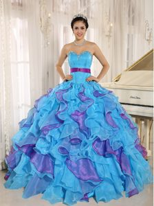 Stylish Multicolor Sweetheart Quinceanera Dress with Ruffles and Appliques