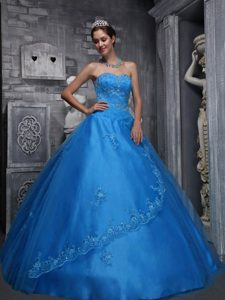 Blue Sweetheart and Tulle Beaded and Appliqued Quinceanera Dresses
