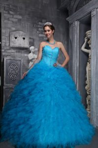 2014 Exclusive Sweetheart and Organza Beaded Dresses for Quinceanera