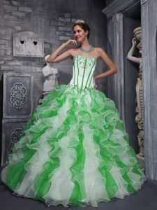 Colorful Sweet Sweetheart and Organza Appliques Quinceanera Dresses
