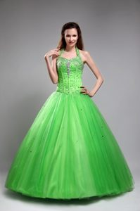 Beautiful Green Halter Top Tulle Quinceanera Dress with Beading on Promotion