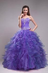 New Sweetheart Organza Quinceanera Dress with Appliques and Ruffled Layers