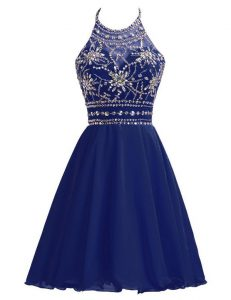 Chic Navy Blue Prom Evening Gown Prom and Party and For with Beading Halter Top Sleeveless Zipper
