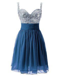 Custom Fit Navy Blue Chiffon Zipper Straps Sleeveless Knee Length Mother Of The Bride Dress Beading