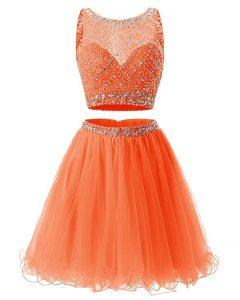 Orange Scoop Neckline Beading and Belt Evening Gowns Sleeveless Backless
