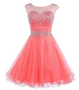 Fancy Scoop Watermelon Red Chiffon Backless Sleeveless Mini Length Beading