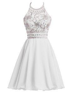 Fancy Halter Top Knee Length White Mother Of The Bride Dress Chiffon Sleeveless Beading