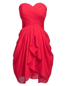 Sleeveless Chiffon Knee Length Lace Up Evening Wear in Coral Red with Ruching