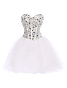 Edgy White Sleeveless Mini Length Beading Lace Up Prom Party Dress