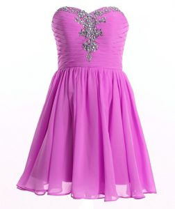 Dynamic Beading and Ruching Mother Of The Bride Dress Lilac Lace Up Sleeveless Mini Length