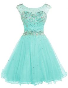 Superior Scoop Apple Green Backless Homecoming Dresses Beading Sleeveless Mini Length