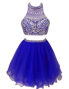 Deluxe Mini Length Royal Blue Formal Evening Gowns High-neck Sleeveless Zipper