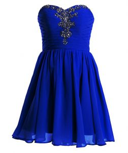 Elegant Royal Blue Sleeveless Beading Mini Length Custom Made