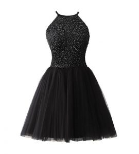 Scoop Black Chiffon Zipper Mother Of The Bride Dress Sleeveless Knee Length Beading