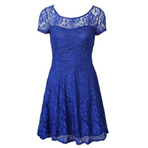Scoop Tea Length Blue Going Out Dresses Organza Short Sleeves Lace