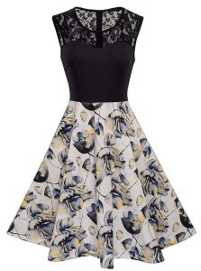 Simple Scoop Sleeveless Satin Homecoming Dress Lace and Embroidery and Pattern Zipper