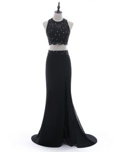 Lovely Scoop Chiffon Sleeveless With Train Formal Evening Gowns Brush Train and Beading and Lace