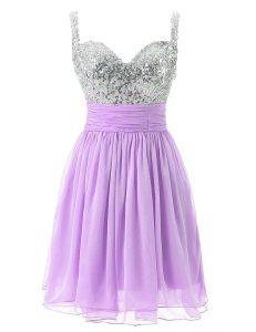 Lavender Chiffon Zipper Going Out Dresses Sleeveless Knee Length Beading