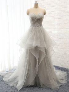 Grey Prom Dress Sweetheart Sleeveless Court Train Lace Up
