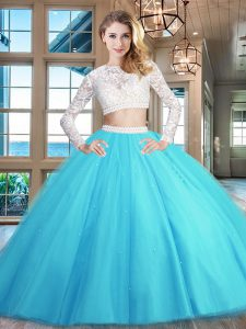 Sophisticated Scoop Baby Blue Long Sleeves Floor Length Beading and Lace Zipper 15th Birthday Dress