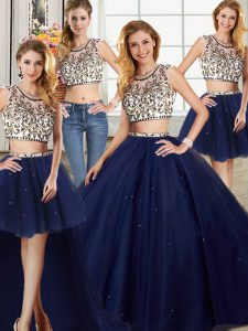 Deluxe Four Piece Navy Blue Backless Scoop Beading Quinceanera Gown Tulle Cap Sleeves Brush Train