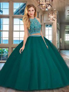 Scoop Backless Dark Green Sleeveless Beading Floor Length Quinceanera Dress