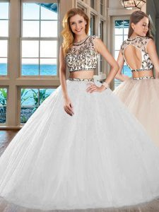 Simple Two Pieces Ball Gown Prom Dress White Scoop Tulle Cap Sleeves Floor Length Backless