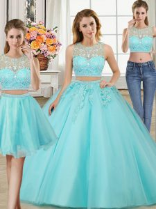 Three Piece Scoop Aqua Blue Sleeveless Floor Length Beading and Appliques Zipper 15 Quinceanera Dress