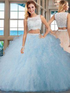 Designer Sleeveless Tulle Floor Length Side Zipper Quinceanera Dresses in Light Blue with Beading and Ruffles