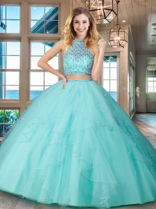Customized Halter Top Aqua Blue Tulle Backless Quince Ball Gowns Sleeveless Floor Length Beading and Ruffles