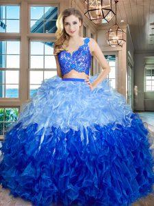 V-neck Sleeveless Zipper Ball Gown Prom Dress Multi-color Organza