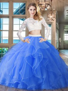 Hot Selling Scoop Long Sleeves Brush Train Beading and Lace and Ruffles Zipper Sweet 16 Dress