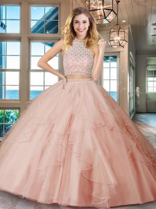 Sophisticated Floor Length Pink Quinceanera Gown Halter Top Sleeveless Backless