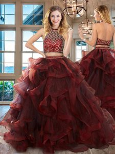 Super Brush Train Two Pieces Ball Gown Prom Dress Burgundy Halter Top Tulle Sleeveless Backless