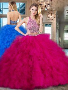 Halter Top Sleeveless With Train Beading and Ruffles Backless Sweet 16 Dress with Fuchsia Brush Train