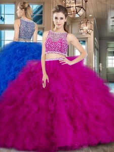 Fuchsia Sleeveless Tulle Brush Train Side Zipper Sweet 16 Quinceanera Dress for Military Ball and Sweet 16 and Quinceane