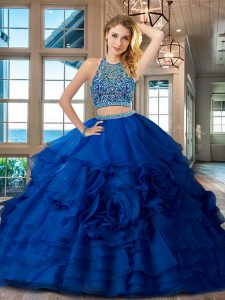 Luxurious Royal Blue 15th Birthday Dress Military Ball and Sweet 16 and Quinceanera and For with Beading and Ruffles Sco