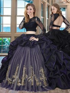 Popular Purple Scoop Backless Embroidery and Pick Ups Quinceanera Dress Brush Train Long Sleeves