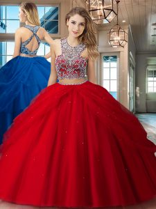 Custom Design Red Two Pieces Tulle Scoop Sleeveless Beading and Pick Ups Floor Length Criss Cross 15 Quinceanera Dress