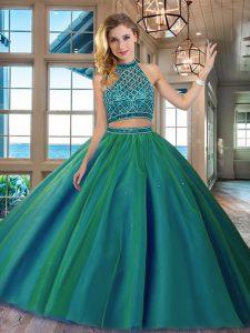Modest Halter Top Dark Green Tulle Backless Ball Gown Prom Dress Sleeveless Brush Train Beading