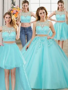 Four Piece Floor Length Aqua Blue Quince Ball Gowns Scoop Sleeveless Zipper