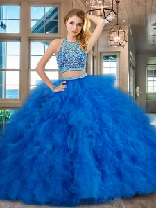 Blue Quinceanera Dress Military Ball and Sweet 16 and Quinceanera and For with Beading and Ruffles Scoop Sleeveless Back