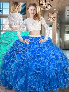 Organza Scoop Long Sleeves Zipper Beading and Lace and Ruffles Quinceanera Dresses in Royal Blue