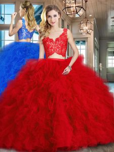 Red Two Pieces Tulle V-neck Sleeveless Lace and Ruffles Zipper Quinceanera Dress Brush Train