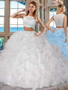 Two Pieces Sweet 16 Dresses White Bateau Organza Sleeveless Floor Length Side Zipper