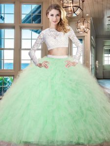Delicate Scoop Long Sleeves 15 Quinceanera Dress Floor Length Beading and Lace and Ruffles Apple Green Tulle